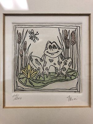 Charming small framed frog lithograph signed Fein numbered Merrill Chase