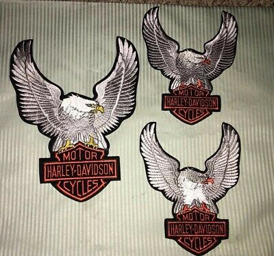 1 Large Harley Davidson Patch Silver Eagle 13x10 & 2-small SilverHD patch 10x8