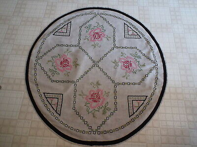 """Unique Vintage Homemade  Cross Stitched 36"""" Decorative Tablecloth with Flowers"""