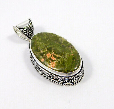 Unakite .925 Silver Plated Carving Pendant Jewelry JC7450