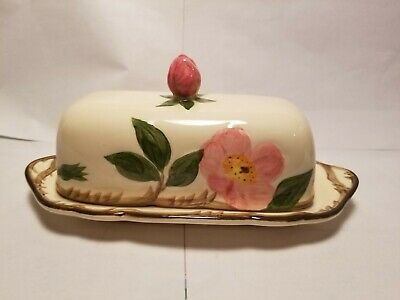 Franciscan Desert Rose Covered Butter Dish 1/4 Lbs Back Stamp USA