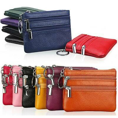 Women Ladies Men Genuine Leather Small Coin Card Key Ring Wallet Pouch Purse