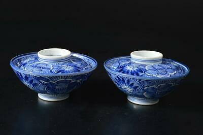 U3884: Japanese Old Imari-ware Flower pattern TEA BOWL/dish of soup 2pcs