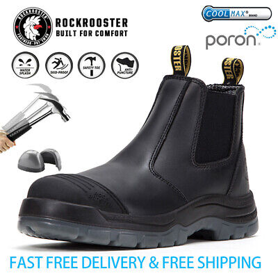 ROCKROOSTER Mens Work Boots Safety Shoes Steel Toe Cap Slip On Boots