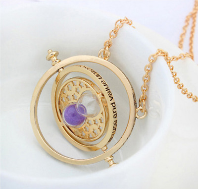 Harry Potter Time Turner Hermione Granger Rotating Hourglass Necklace PurpleSand