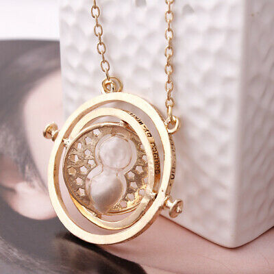Harry Potter Time Turner Hermione Granger Rotating Hourglass Necklace Gray Sand