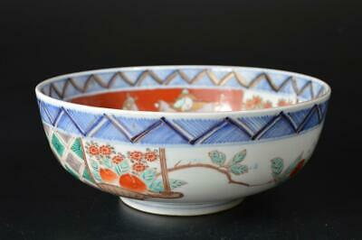 U4706: Japanese Old Imari-ware Colored porcelain Kashiki DESSERT BOWL/dish