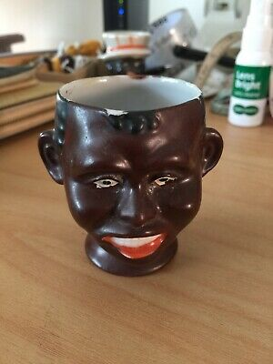 """Antique """" Black Boy """" Bisque Egg Cup Holder Red Lips, White Teeth! No Chips"""