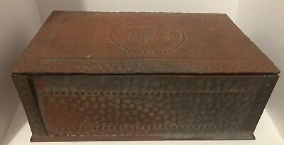 Vintage Hammered Metal & Wood Hinged  Jewelry Trinket Treasure Box