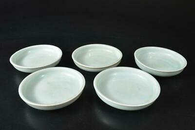U4821: Japanese Old Imari-ware Celadon PLATE/Bowl/Dish 5pcs, Tea Ceremony