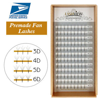 Lashview .05mm Set 3-6D Premade Fans Eyelash Extensions Semi-permanent Volume