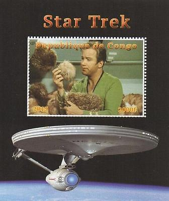 Star Trek Kirk William Shatner Starship Enterprise 2015 Mnh Stamp Sheetlet