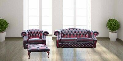 Chesterfield Buckingham 2 Seater+ Club chair + Footstool Antique Oxblood Leather
