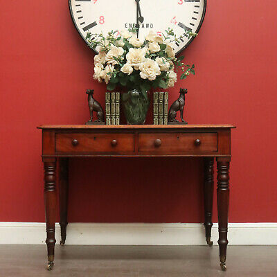 Antique Writing Desk, Mahogany and Leather, English, 2 Drawers, Hall Table, Gilt