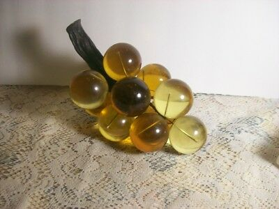 Vintage Lucite Acrylic Golden Amber Grape Cluster on Driftwood Stem 8 Inch