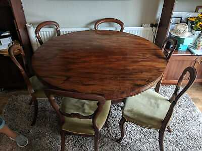 Dining Table-Antique Georgian-Circa 1800'S With Balloon Back Chairs