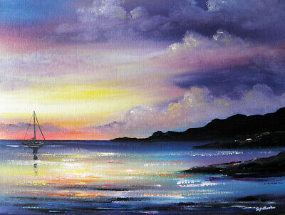 MODERN SEASCAPE CANVAS PAINTING Sarah Featherstone, Stormy Sky, Sunset, Boat,Sea