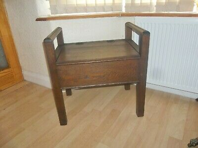 ORIGINAL ANTIQUE VICTORIAN 19th CENTURY OAK  PIANO STOOL WITH LIFT UP SEAT