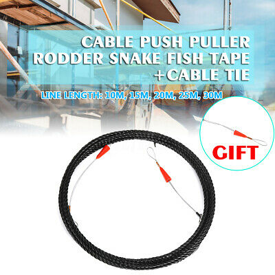 Push Puller Cable Duct Snake Rodder Fish Tape Wire Tools 10m-30m Black