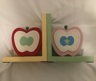 Wooden Children's Apple Shaped Bookends Childs Playroom or Nursery