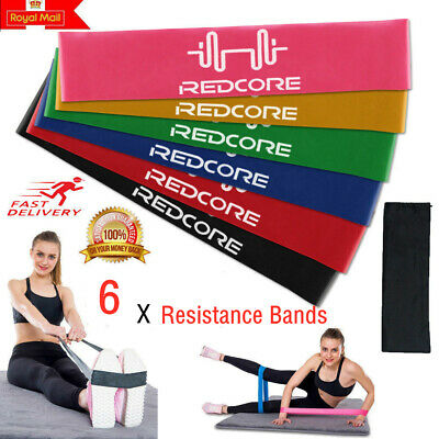 Resistance Bands Loop Set Exercise Sports Fitness Home Gym Yoga Latex Set of 6