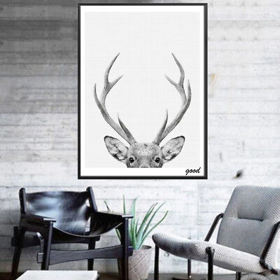 HD_ Modern Deer Art Poster Wall Canvas Painting Picture for Room Home Decor Reli