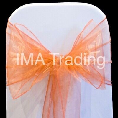 100 Rust Organza Sashes Chair Cover New Bargain Uk Seller Chair Bow