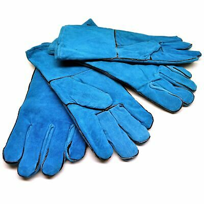 Safety Protection Green Welding Gardening Gloves Suede Gauntlets Two Pairs TE4