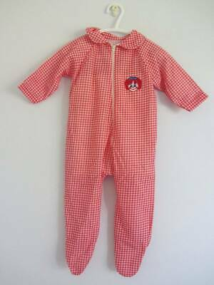 vintage 70's sleepsuit playsuit red gingham large doll NWT's age 1