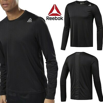 Reebok Black Mens Tee T Shirt Longsleeve Crossfit Run New Combat Jersey D92331