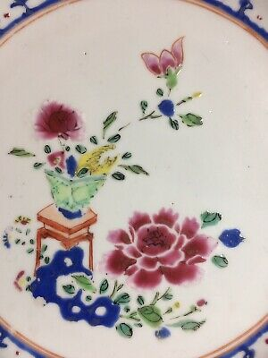 beautiful antique Chinese Export porcelain Canton plate early Famille Rose c1730