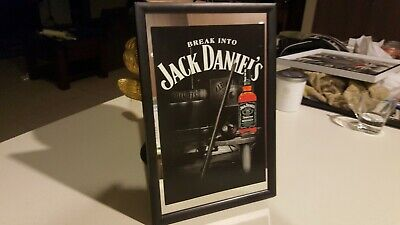 Framed Bar Mirror - JACK DANIELS Billiards / Pool Logo 20x30cm in box Eight Ball