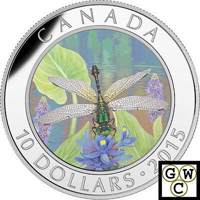 2015 'Pygmy Snaketail Dragonfly' Proof $10 Silver Coin .9999 Fine (17004)(NT)