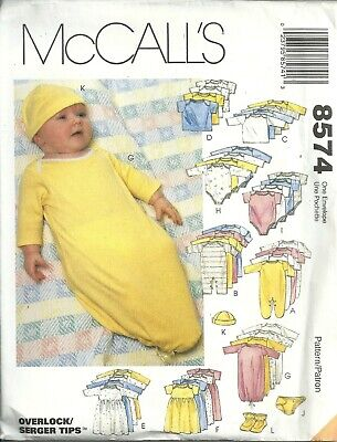 McCall's 8574 Infants & Preemie Layette All Sizes Uncut Sewing Pattern