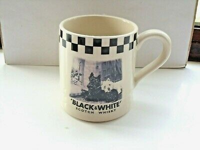 black and white scotch whisky tankard made in staffordshire in VGC