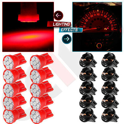 "10Pcs T10 PC194 1/2"" Hole Sockets Red LED Bulb Dashboard Instrument Panel Light"