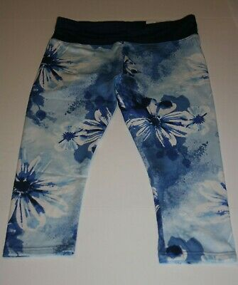 New Justice Girls 18 Plus yr Crop Leggings Blue Floral Print High Waist Athletic