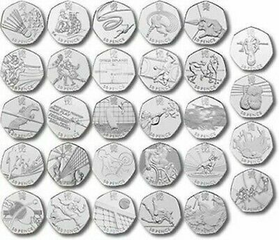 All 2012 London Olympics 50p fifty pence pieces_Football Judo Triathlon Tennis