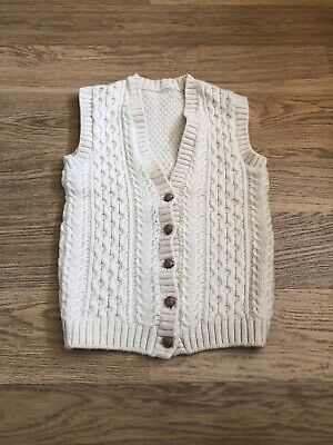 Vintage chunky cable aran  knit pure wool jumper vest tank top Medium Uk 12 14