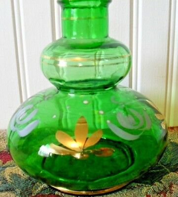 ANTIQUE HAND PAINTED barber BARBER'S BOTTLE~GREEN GLASS~GOLD WHITE FLOWERS