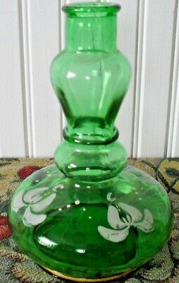 ANTIQUE HAND PAINTED barber BARBER'S BOTTLE~GREEN GLASS~GOLD TRIM*RAISED DOT