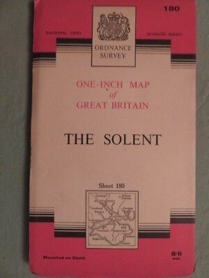 """Antique O/S 1""""/mile map Great Britain THE SOLENT (1966) sheet 180"""