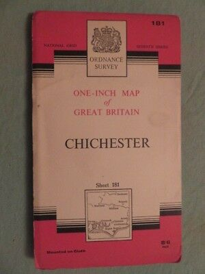 """Antique O/S 1""""/mile map Great Britain CHICHESTER (1960) sheet 181"""