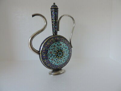 MAGNIFICENT MOGHUL INDIAN PERSIAN STERLING SILVER ENAMEL  EWER DECANTER 397 gr