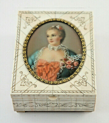 Antique Reuge-Spieluhr, Jewelry Box with Miniature Painting, Signed. (4N45)