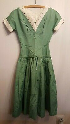 Vintage Hand Made Green & White Dress with Rhinestones Classic 50's Halloween