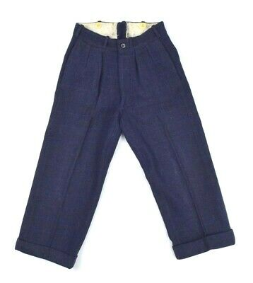 Antique 1920s Nav Blue Wool Slacks Pants Boys 23 x 19 Bone Button Cuffed Pleated