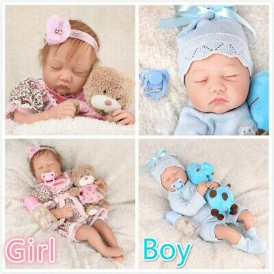 "22"" Twins Reborn Baby Dolls Lifelike Girl+Boy Vinyl Silicone Handmade Kids Gifts"