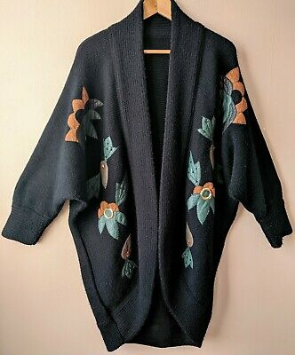 80s Vintage Cocoon Cardigan Oversized Long Appliqued Coatigan New Wave Casual