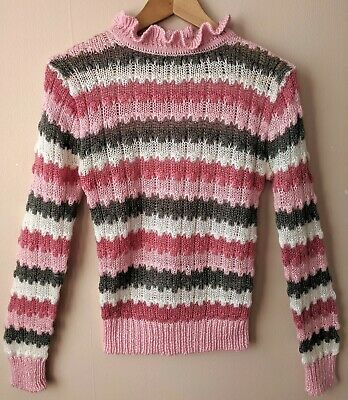 70s 80s Vintage Jumper S 8-10 High Necked Edwardian Style Pink Grey White Stripy